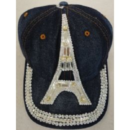 24 Units of Denim Hat with Bling *Silver [Eiffel Tower] - Baseball Caps & Snap Backs