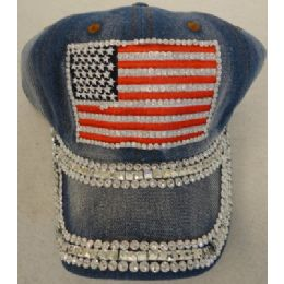 24 Units of Denim Hat with Bling *Silver [Flag] - Baseball Caps & Snap Backs