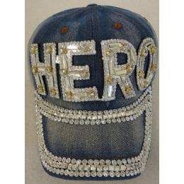 24 Units of Denim Hat with Bling *Silver [HERO] - Baseball Caps & Snap Backs