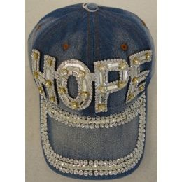 12 Units of Hope Design Denim Hat with Bling *Silver - Baseball Caps & Snap Backs