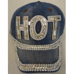 24 Units of Denim Hat with Bling *Silver [HOT] - Baseball Caps & Snap Backs