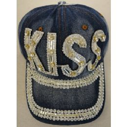 24 Units of Denim Hat with Bling *Silver [KISS] - Baseball Caps & Snap Backs