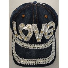 24 Units of Denim Hat with Bling *Silver [LOVE] - Baseball Caps & Snap Backs