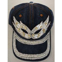 24 Units of Denim Hat with Bling *Silver [Masquerade Mask - Baseball Caps & Snap Backs