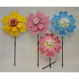 "24 Units of 14"" Double Flower Petal Wind Spinner [Asst Flowers] - Wind Spinners"