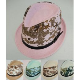 24 Units of Child's Fedora Hat With Buckled Hat Band [camo Printed - Fedoras, Driver Caps & Visor