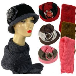 36 Units of Knit Hat And Scarf Sets - Winter Sets Scarves , Hats & Gloves