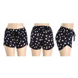 48 Units of Womans Heart Printed Shorts - Womens Shorts