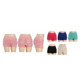 24 Units of Womans Ruffle Style Shorts (Assorted Colors) - Womens Shorts