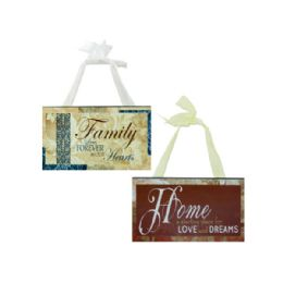 72 Units of Family & Home Wood Sign with Ribbon Hanger - Wall Decor