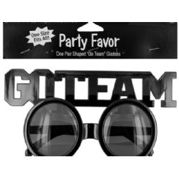 144 Units of Go Team Shaped Party Favor Glasses - Novelty & Party Sunglasses