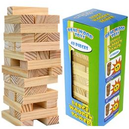 24 Units of LARGE WOODEN TOWER GAMES - Dominoes & Chess