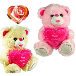 "24 Units of PLUSH ""HAPPY MOTHER'S DAY "" HEART BEARS - Mothers Day"