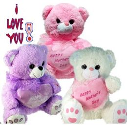 24 Units of PLUSH PASTEL MOTHER'S DAY BEARS WITH SOUND - Mothers Day