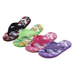 48 Units of Girls Camo Printed Flip Flop (assorted Colors) - Girls Flip Flops