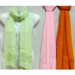 48 Units of Silk Scarves scarf with Flower Embroidery - Womens Fashion Scarves