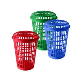 "12 Units of Tall Round Laundry Hamper With/lid 17""diameter .x24.5""height - Waste Basket"