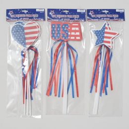 96 Units of Pick 3pk Foam Patriotic W/ribbon Streamers 3asst Star/heart/usa - 4th Of July