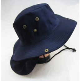 48 Units of Men's Solid Color Bucket Hat With Drawstring - Hunting Caps