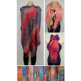 24 Units of Fashion Pashmina Scarf with Fringe--Color Fade Flower - Womens Fashion Scarves