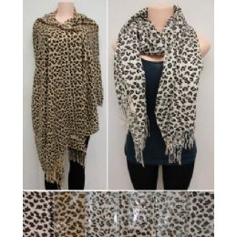 24 Units of Fashion Pashmina Scarf with Fringe--Cheetah Prints - Womens Fashion Scarves