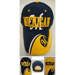 48 Units of Michigan Hat M wave On Bill - Hats With Sayings