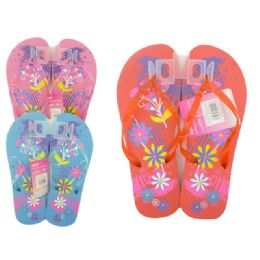 72 Units of WOMEN'S PRINTED FLORAL FLIP FLOP SIZES 5-10