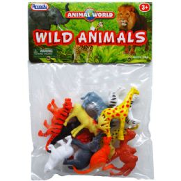 """108 Units of 12PC 2"""" PLASTIC WILD ANIMALS IN POLY BAG W/HEADER - Animals & Reptiles"""