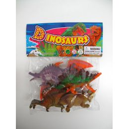 """48 Units of 6"""" 5PC TOY DINOSAUR SET IN POLY BAG W/HEADER - Animals & Reptiles"""