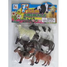 """24 Units of 6.5"""" 6PC TOY FARM ANIMAL SET IN POLY BAG W/HEADER - Animals & Reptiles"""
