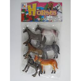 """48 Units of 4.5"""" 6PC TOY HORSE SET IN POLY BAG W/HEADER - Animals & Reptiles"""