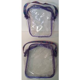 """72 Units of 7"""" x 8"""" Purple Zippered Clear Plastic Bag - Cosmetic Cases"""