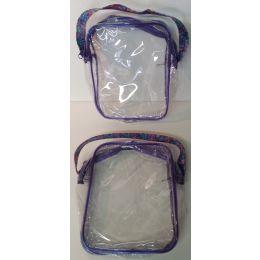 "72 Units of 7"" x 8"" Purple Zippered Clear Plastic Bag"