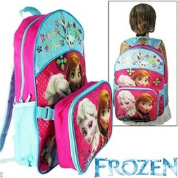 12 Units of 2-IN-1 Disney's Frozen Lunch Box & Backpacks. - Licensed Backpacks
