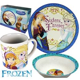 12 Units of 3 Piece Frozen Sisters Forever Dish Sets. - Plastic Bowls and Plates