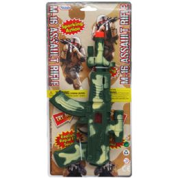 """96 Units of 9"""" M-16 MILITARY TOY RIFLE W/SPARKING ACTION TIED ON CARD - Toy Weapons"""