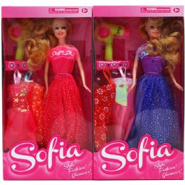 "48 Units of 12"" SOFIA DOLL W/2XTRA OUTFITS&ACCSS IN WINDOW BOX, ASSORTED - Dolls"