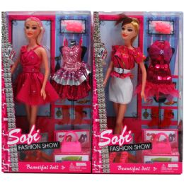 "36 Units of 12"" BENDABLE SOFI DOLL W/XTRA OUTFIT IN WINDOW BOX, ASSORTED - Dolls"