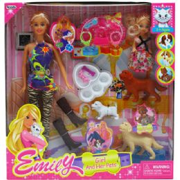 24 Units of EMILY DOLL WITH MINI BABY DOLL AND PETS WITH ACCESSORIES IN WINDOW BOX - Dolls