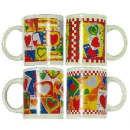 36 Units of HEARTS PATCHWORK-DESIGN COFFEE MUGS - Coffee Mugs