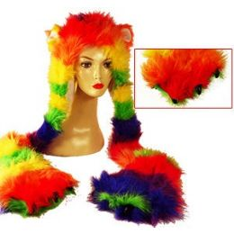 24 Units of Neon Faux Fur Hats W/attached Hand Muffs - Winter Hats