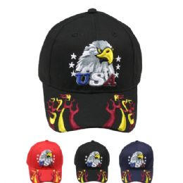 12 Units of Baseball Cap Eagle Flame - Baseball Caps & Snap Backs