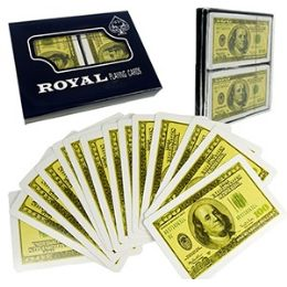 48 Units of 2-Pack $100 Bill Plastic Coated Playing Cards. - Card Games