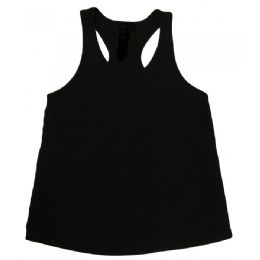 48 Units of Ladies Racer Back Tank Tops Black - Womens Active Wear