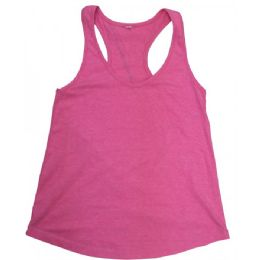 48 Units of Ladies Neon Pink Racer Back Tank Tops - Womens Active Wear
