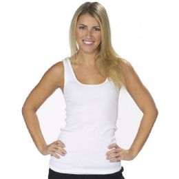 72 Units of WOMEN'S WHITE RIBBED TANK TOPS - Womens Active Wear
