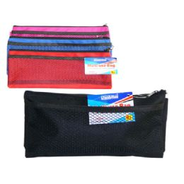 144 Units of Pencil Pocket Bag W/Mesh Pocket - Pencil Boxes & Pouches