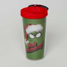 30 Units of Tumbler Insulated Acrylic 16oz W/lid Bah Humbug - Coffee Mugs