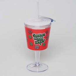 20 Units of Goblet Insulated 12oz W/straw Santas Liquid Helper - Plastic Drinkware