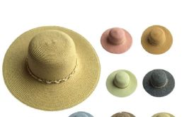 48 Units of Womans Sun Hat Assorted Colors With Chain - Sun Hats